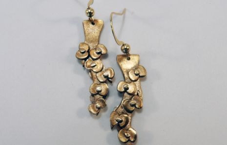 Branches in flowers bronze earrings