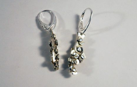 Branch in flowers silver earrings
