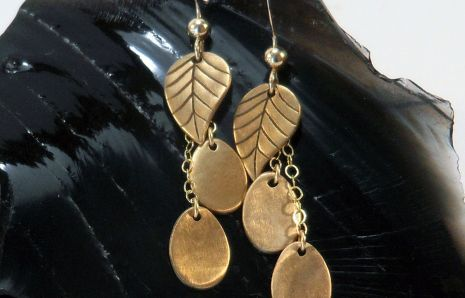 Falling Leaves bronze earrings